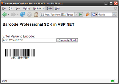 Barcode Professional SDK in ASP.NET Web Applications (Mozilla Firefox Browser)