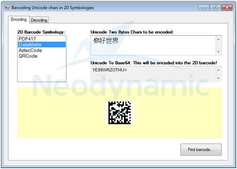 How to encode Unicode in PDF417-DataMatrix-QRCode-AztecCode