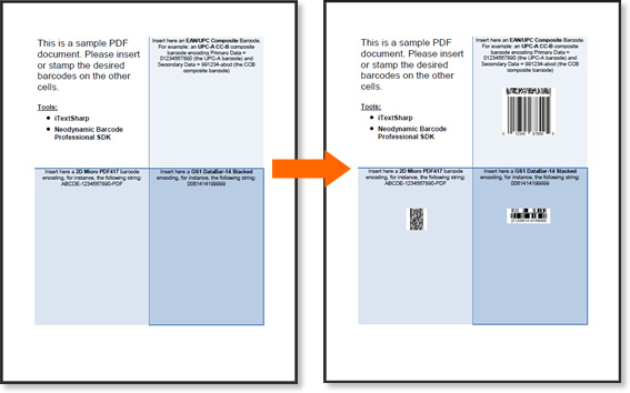 This is the PDF document before and after inserting or stamping the barcodes