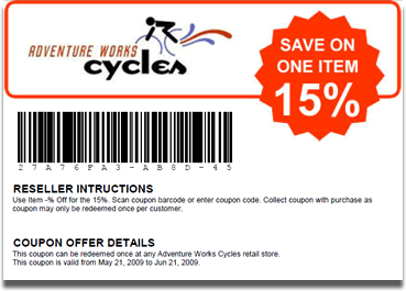 A barcode coupon sample generated and printed by using Barcode Professional and PrintDocument