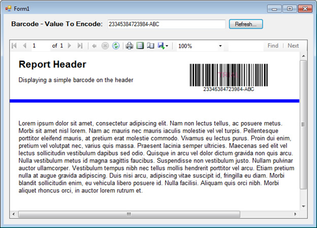 How to insert barcode images into the Header or Footer sections of a