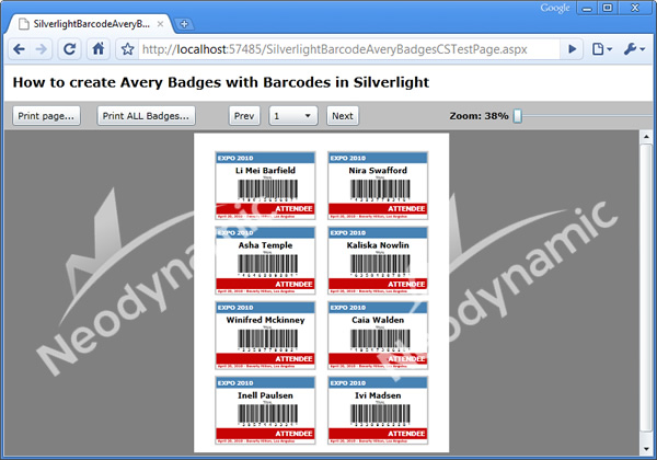 A simple Avery Badges viewer in Silverlight featuring vector-based barcodes