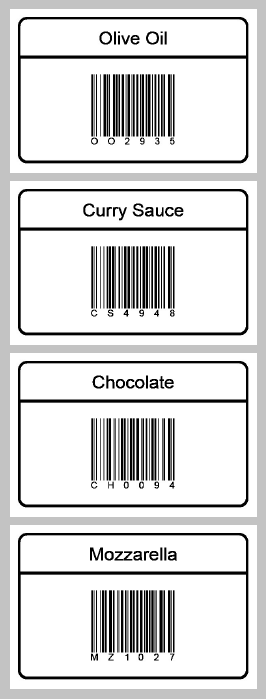 A sample output of printed thermal labels from CSV file
