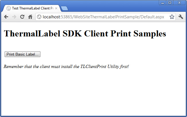 ThermalLabel SDK Client Print Samples
