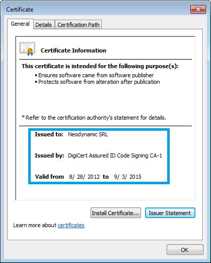 Neodynamic's Code Signing Certificate