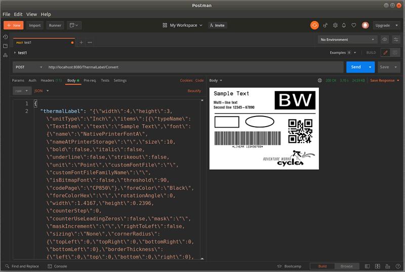 QR Code, Code 128, Label
